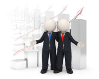 3d business partners in front of financial graph Stock Photos
