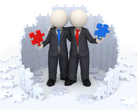 3d business partners - Puzzle solutions. 3d rendered business people holding red and blue puzzle pieces in their hands while embracing each other - Successful Stock Image