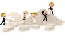 3D business people building a wall Royalty Free Stock Photo