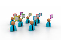 3d business people icon with speech bubbles Stock Images