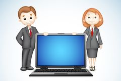 3d Business People with Laptop. Illustration of confident 3d business people in vector with laptop Royalty Free Stock Photography