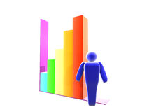 3D Business Statistic. With colorful bars Royalty Free Stock Photo