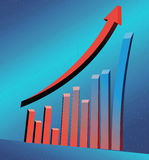 3D business statistics. Chart in blue Royalty Free Stock Image