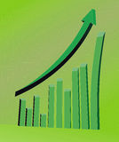 3D business statistics. Chart in green Royalty Free Stock Photo
