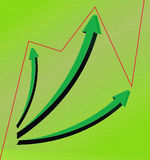3D business statistics. Chart in green Stock Photo