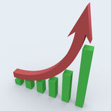 3d business statistics. In white background showing rise in profits Royalty Free Stock Photos