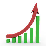 3d business statistics. In white background showing rise in profits Royalty Free Stock Photography