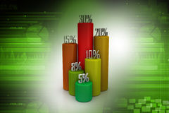 3d business statistics. In attractive colour background Stock Images
