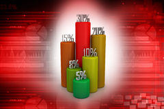 3d business statistics. In attractive colour background Royalty Free Stock Photo
