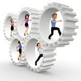 3D business team in action Royalty Free Stock Photos