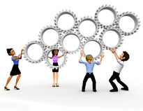 3D business team assembling gears Stock Photos