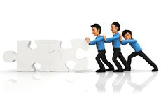 3D business team - puzzle assembling Royalty Free Stock Photography