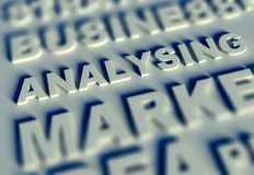 3d Business text table and analysing. Business text table and analysing Stock Image
