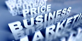 3d Business text table and business Stock Photo