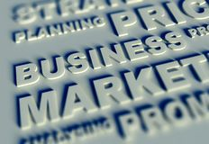 3d Business text table and business Royalty Free Stock Image