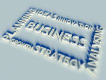 3d Business text table and keywords. Business text table and keywords Royalty Free Stock Photo