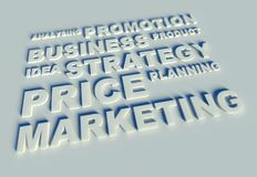3d Business text table and keywords. Business text table and keywords Royalty Free Stock Photography
