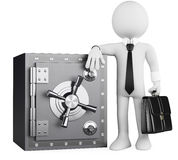 3D business white people. Banker and safe. 3d white business person with a briefcase leaning on a safe. 3d image. White background Royalty Free Stock Photo