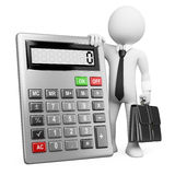 3d business white people. Calculator. 3d white business person with a calculator and a briefcase. 3d image. White background Royalty Free Stock Photo