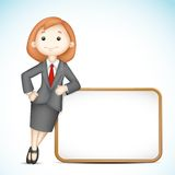3d Business Woman in Vector. Illustration of 3d business woman in  holding blank board Royalty Free Stock Photography