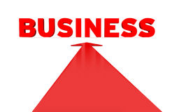 3d business word. Red arrow pointing to a 3d word - business Royalty Free Stock Images