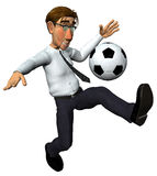 3d businessman and also footballer. Playing with the ball Royalty Free Stock Photography