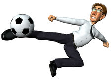 3d businessman and also footballer dragon jump. 3d businessman and also footballer in a dragon jump to the ball Stock Photo