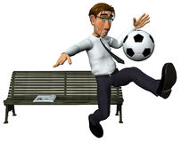 3d businessman and also footballer playing. 3d businessman and also footballer palying football in front of the bench Royalty Free Stock Photography