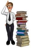 3d businessman books cartoon. 3d businessman books school cartoon poiting up Royalty Free Stock Image