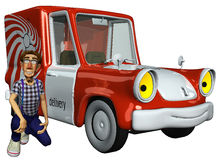 3d businessman courier beside the car. 3d businessman courier beside the his car Stock Image