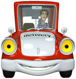 3d businessman courier driving. 3d businessman courier is driving for the next delivery Royalty Free Stock Photography