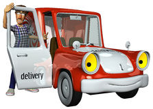 3d businessman courier and his red car. The 3d businessman courier and his red delivery car Royalty Free Stock Photos