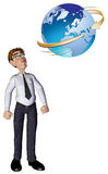 3d businessman global. The 3d businessman character is a global man Royalty Free Stock Images