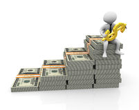 3d businessman with golden dollar. 3d businessman sitting on top of stack of dollar with golden dollar Stock Image