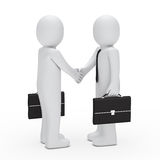 3d businessman handshake. With briefcase black Royalty Free Stock Images