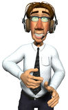 3d businessman headphone close. 3d businessman useing a headphone on the help line closer Royalty Free Stock Image
