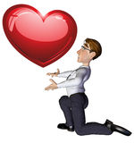 3d businessman heart Stock Images