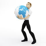 3D businessman holding lhuge earth globe. Isolated on white background Stock Photos