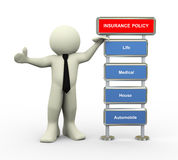 3d businessman and insurance policy. 3d illustration of man standing with various type of insurance policy Stock Image