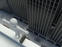 3d Businessman jump from the top of the building Stock Image