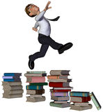 3d businessman jumping the books. The businessman is jumping all those the books Royalty Free Stock Photo