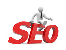 3d businessman jumps through word SEO. Business concept. Separated on white Stock Images