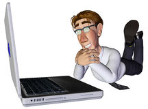 3d businessman laptop. The businessman and his laptop lookin for something Royalty Free Stock Image