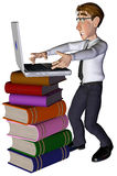 3d businessman laptop on the book. The businessman and his laptop on the book Stock Photography