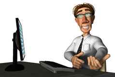 3d businessman laptop cartoon Stock Photography