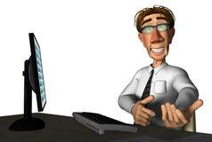 3d businessman laptop cartoon. 3d businessman laptop computer school cartoon poiting up Stock Photography