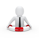 3d businessman in lifebelt. 3d businessman with tie in lifebelt red Royalty Free Stock Photography