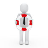 3d businessman in lifebelt. 3d businessman with tie in lifebelt red Royalty Free Stock Photos