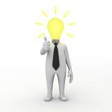 3d businessman with light bulb idea Stock Photography
