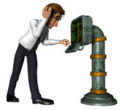 3d businessman old computer cartoon Stock Photos